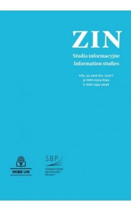 Zagadnienia Informacji Naukowej Vol. 54 2016 no. 1(107) - Ebook