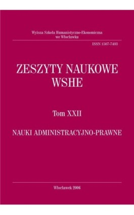 Zeszyty Naukowe WSHE, t. XXII, Nauki Administracyjno-Prawne - Ebook