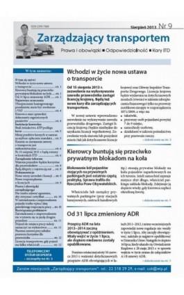 Zarządzający transportem Sierpień 2013 nr 9 - Ebook