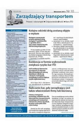 Zarządzający transportem Wrzesień 2013 nr 10 - Ebook