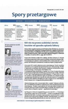 Spory przetargowe wrzesień 2013 nr 65 - Ebook