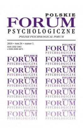 Polskie Forum Psychologiczne tom 24 numer 1 - Ebook