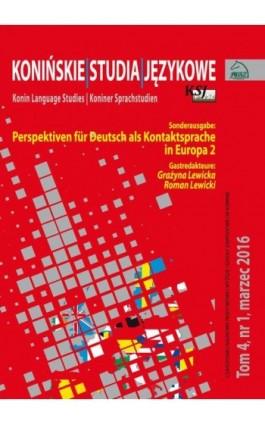 Konińskie Studia Językowe Tom 4, nr 1, marzec 2016 - Ebook