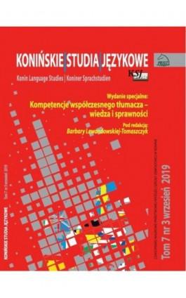 Konińskie Studia Językowe Tom 7 Nr 3 2019 - Ebook