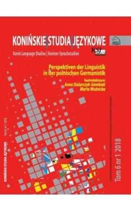 Konińskie Studia Językowe Tom 6 Nr 1 2018 - Ebook