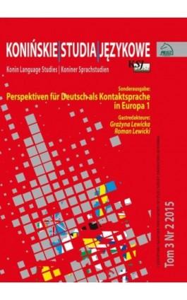 Konińskie Studia Jezykowe Tom 3 Nr 2 2015 - Ebook