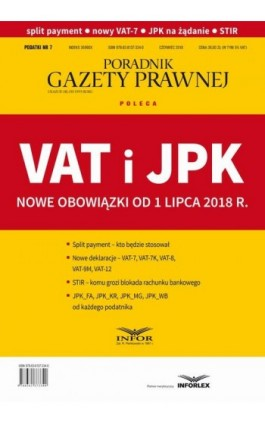 VAT i JPK Nowe obowiązki od 1 lipca 2018 r - Infor Pl - Ebook - 978-83-8137-335-7