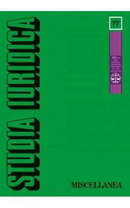 Studia Iuridica, nr 77 - Ebook