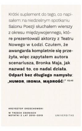 W trzech zdaniach Notatki z lat 2018/2019 - Krzysztof Orzechowski - Ebook - 978-83-242-2998-7