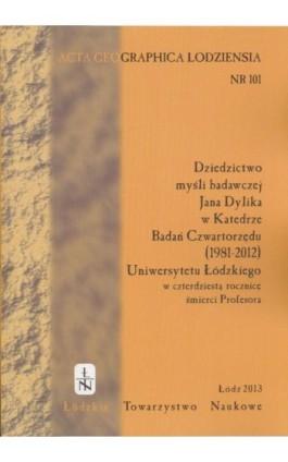 Acta Geographica Lodziensia t. 101/2013 - Praca zbiorowa - Ebook
