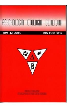 Psychologia-Etologia-Genetyka nr 32/2015 - Agata Dukowicz - Ebook