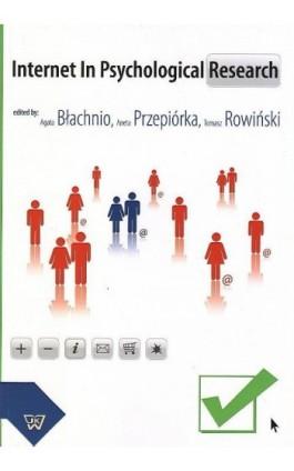 Internet In Psychological Research - Agata Błachnio - Ebook - 978-83-7072-653-9