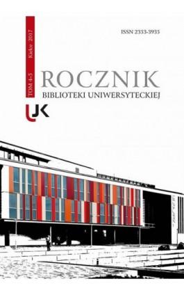 Rocznik Biblioteki Uniwersyteckiej, T. 4-5 - Ebook
