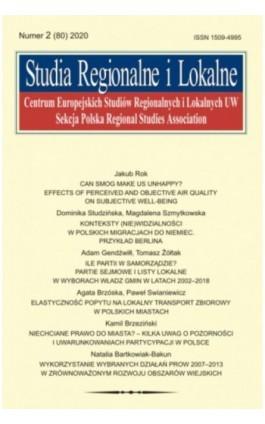 Studia Regionalne i Lokalne nr 2(80)/2020 - Jakub Rok - Ebook